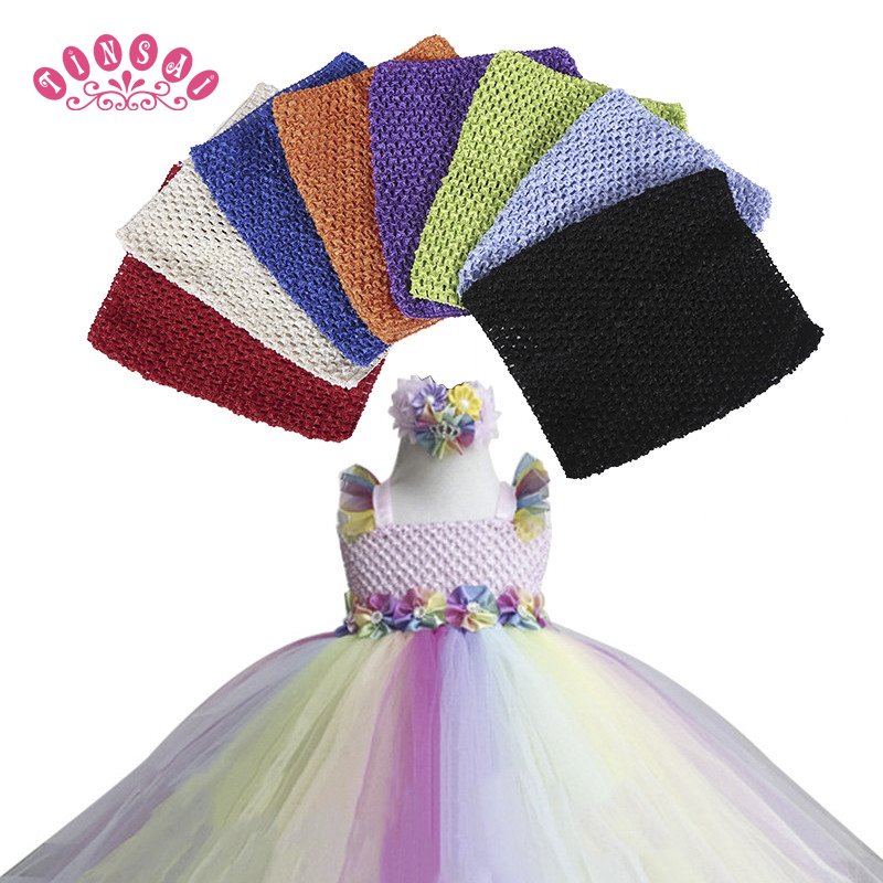 9 inch Chest children 20 23CM 30 Color Elastic Wrapped Chest Knit Girl Crochet Headband Tutu
