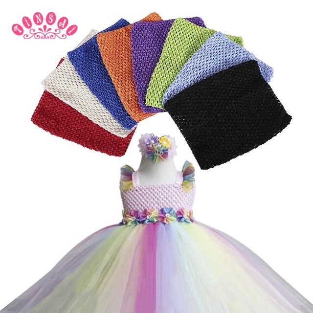 9 pouces poitrine enfants 20*23 CM 30 couleur élastique enveloppé poitrine tricot fille Crochet bandeau Tutu bustiers large 2018 bricolage jupe robe