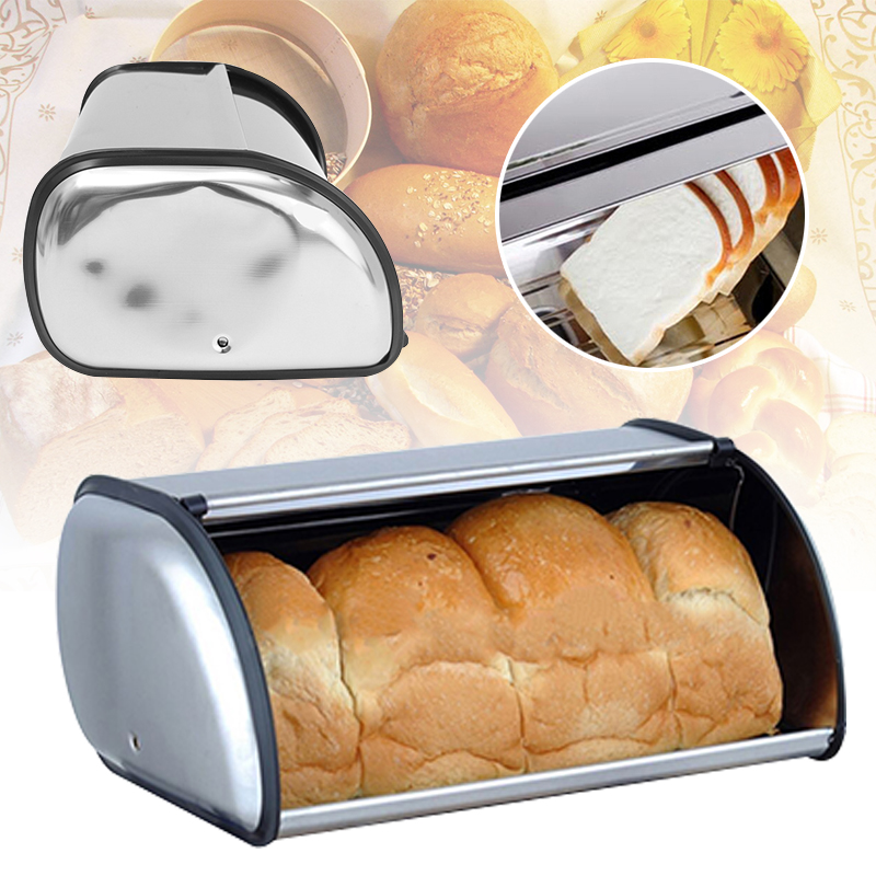 JX-LCLYL 34x21x14.5cm Stainless Steel Bread Box Storage Bin Keeper Food Kitchen Container ...