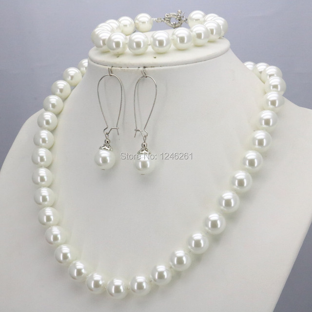 Accessories Christmas Gifts Women Girls 10mm White Glass Round Pearl Beads Necklace Bracelet Earrings Sets Jewelry Making Design