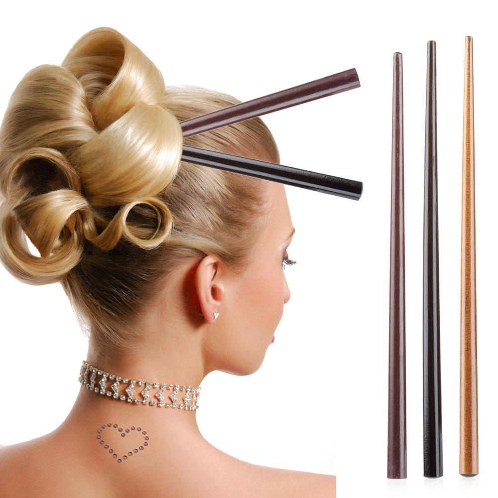 Wood Hair Stick,Flower Hair Pin 8Pcs 6.18 long Brown Wooden Hair Stick two holes
