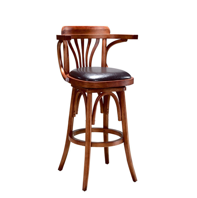 American Country Retro Bar Stool Solid Wood Chair Cafe High Armrest Back Table