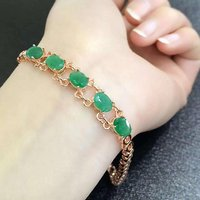 Sale Qi Xuan_Fashion Jewelry_Colombia Green Stone Fashion Bracelets_Rose Gold Color Green Bracelet_Factory Directly Sales