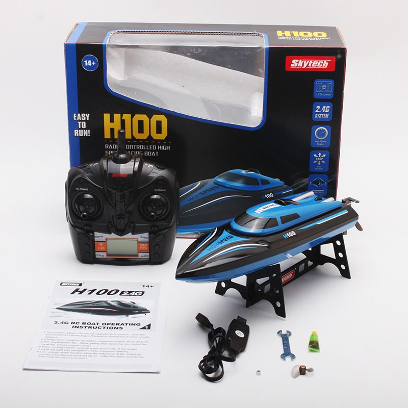 Skytech H100 2.4GHz 4CH Automatic capsize High Speed Racing Boat Waterproof RC Boat Electric Boats RC Toys skytech h100 2 4ghz 4ch automatic high speed racing boat waterproof rc boat electric boats for pools lakes outdoor adventure