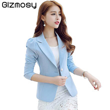 Spring Women Slim Blazer Coat 2016 New Fashion Casual Jacket Long Sleeve One Button Suit Ladies Blazers Work Wear BN072