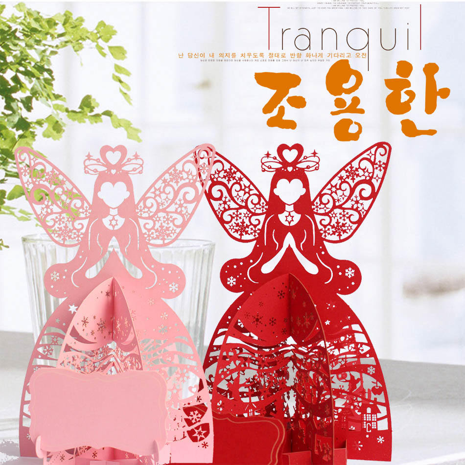 Online Shop Multi Colored Christmas Angel 3D Laser Cut Pop Up Cards Wholesale Bulk Custom Pary Supplies Gifts 10 Pcs
