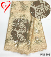 KK Nigerian African Dress Styles Latest High Quality Sequin Tulle Fabric 5yards African French Net Lace