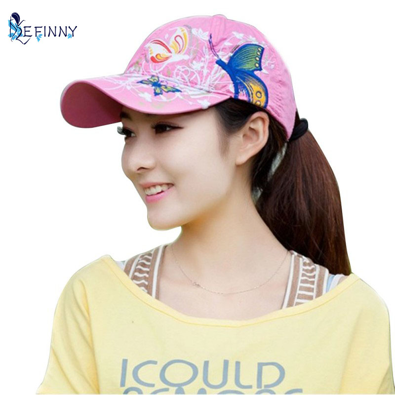 Summer Adjustable Baseball Cap Women Lady Flowers Butterfly Embroidered font b Hat b font