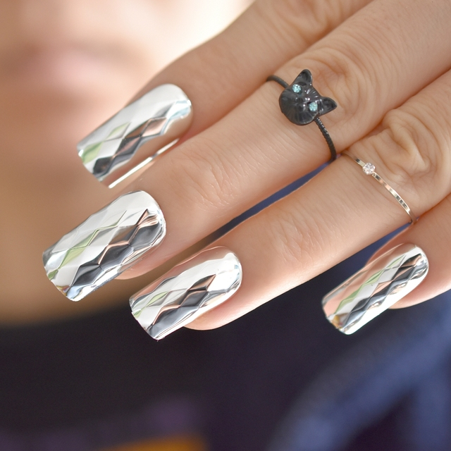 Fashion Metallic Silver False Nails Metal 3D Rhombus Pattern Long ...