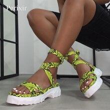 Perixir Sandalias de gladiador con cuña para mujer, zapatos bohemios con cinta, con plataforma Peep Toe, informales de cáñamo