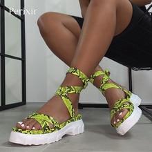 Perixir kobiety sandały gladiatorki kliny buty czechy wstążka letnie klapki damskie Peep Toe sandały na platformie Casual konopie buty