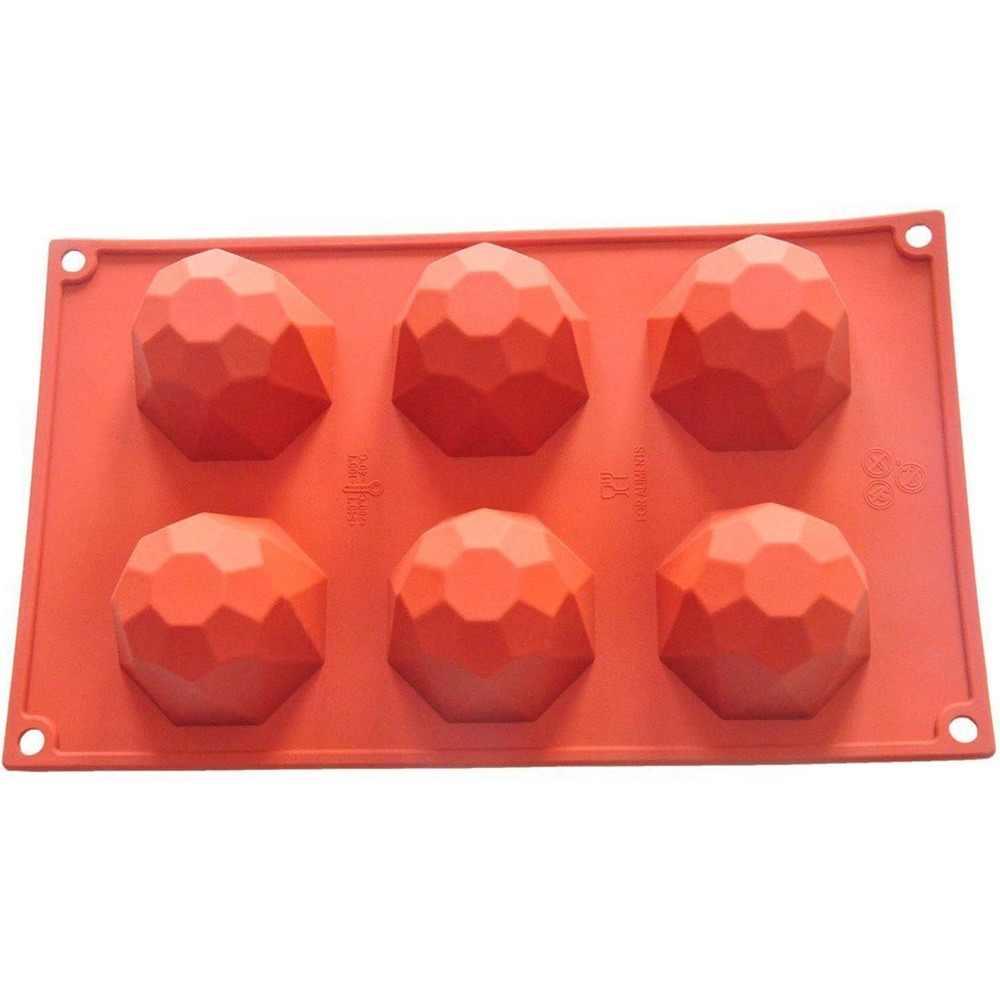 6cavity мини Diamond многослойная 100% чистого силикона лоток для выпечки с формами форма для выпечки, форма для духовки DIY шоколада в виде пирожного в чашке
