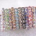 "Free Shipping Wholesale Mixed Multi-color Faceted Beads Stretch Crystal Bracelet 7"" 10 Strands H1272"