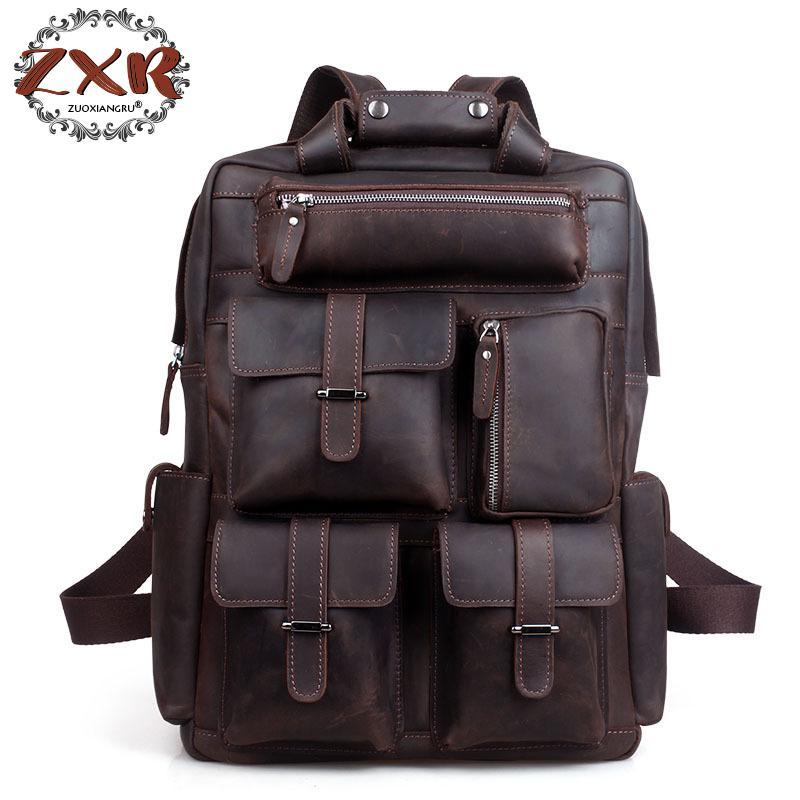 купить Crazy Horse Leather Men Backpack Backpack Genuine Leather Backpack Men School Backpack Fashion Rucksack Book Bag по цене 8322.21 рублей