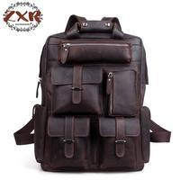 Crazy Horse Leather Men Backpack Backpack Genuine Leather Backpack Men School Backpack Fashion Rucksack Book Bag