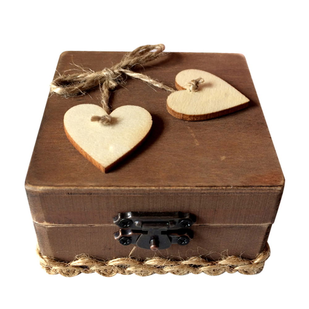 Personalized brown woody love square ring box antique wedding personalized gift box