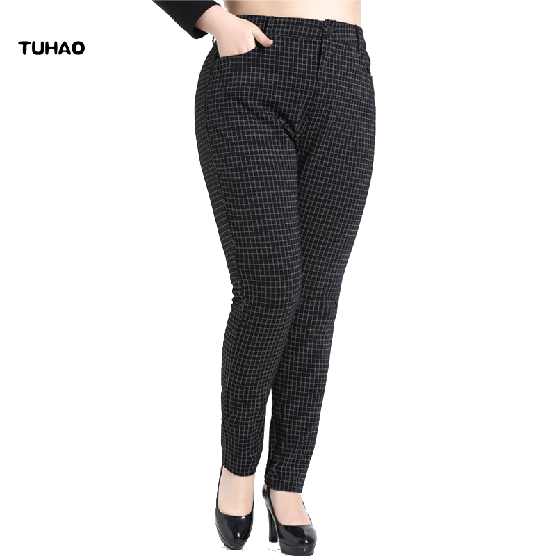 3be82f840ed Detail Feedback Questions about TUHAO plus size 10XL 8XL pants for Women  Large Sizes Plaid Pants 2018 Spring Summer England Style Zipper Pencil  Trousers ...