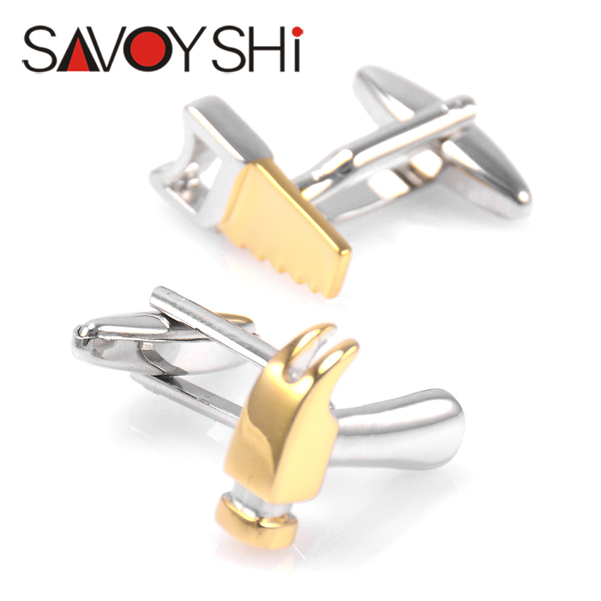 Novelty Saws Hammer Cufflinks for Mens Shirt Cuff Bottons High Quality Gold-color Tool Cuff Links Fashion SAVOYSHI Brand Jewelry цены онлайн