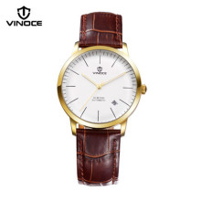 VINOCE men s watch waterproof leather strap automatic font b mechanical b font watch calendar luminous