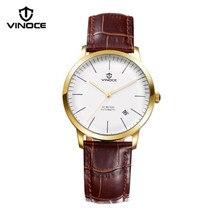 VINOCE impermeable reloj de los hombres correa de cuero reloj mecánico automático calendario luminoso display Relogio marca de lujo nueva
