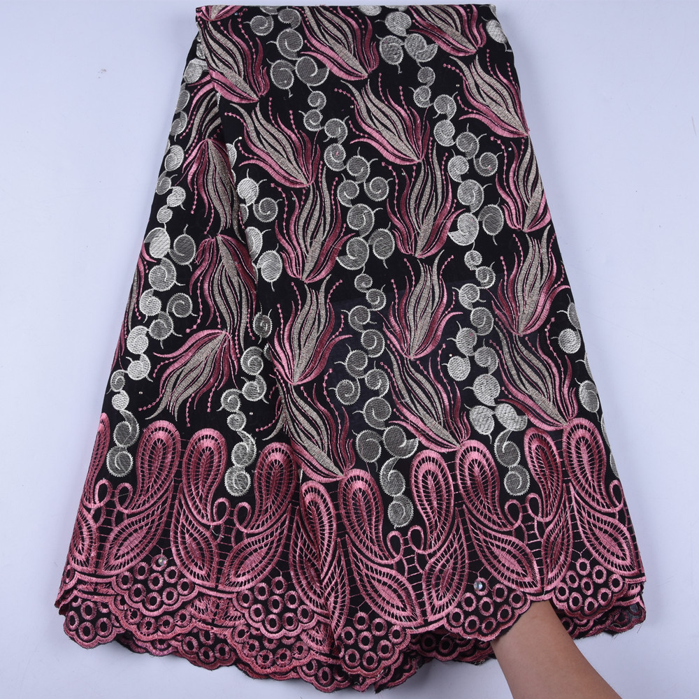 African Lace Fabric 2019 High Quality Lace Black Peach Swiss Voile Lace In Switzerland Nigerian Cotton