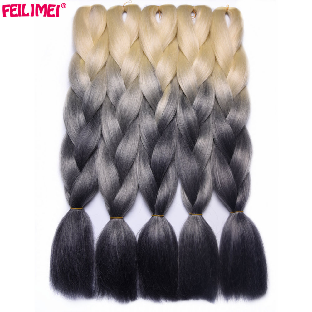 Cheap Sale Feilimei Blonde Gray Colored Crochet Hair Extension Kanekalon Hair Synthetic Crochet Braids Ombre Jumbo Braiding Hair Extensions Hair Extensions & Wigs