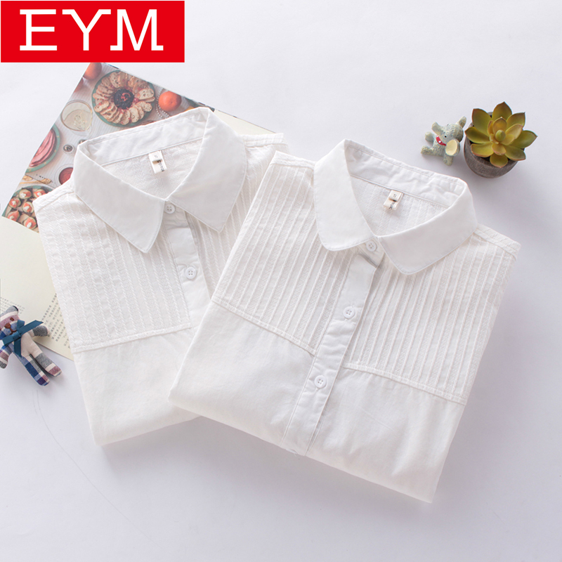 White Long Sleeve   Blouses   Women 2018 Spring New Casual   Shirts   Art Simple Style Spliced   Blouse   Women 100% Cotton Lady Tops Blusas