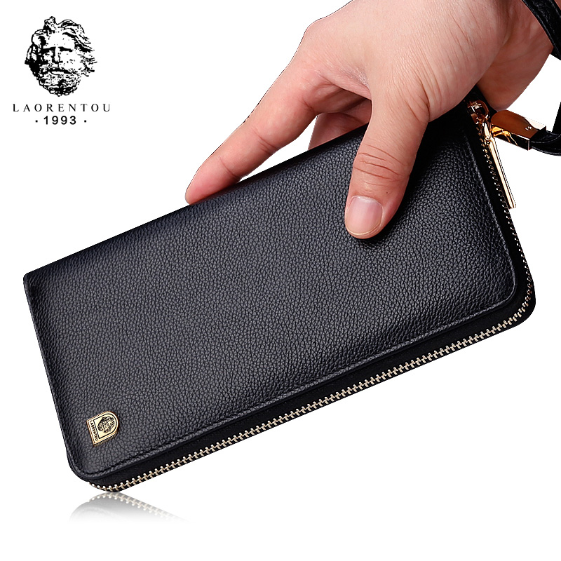 LAORENTOU Men Wallets Genuine Leather Large Capacity Zipper Wallet Men's Purse Long Wallet Bifold Wallet Clutch With Wristlet