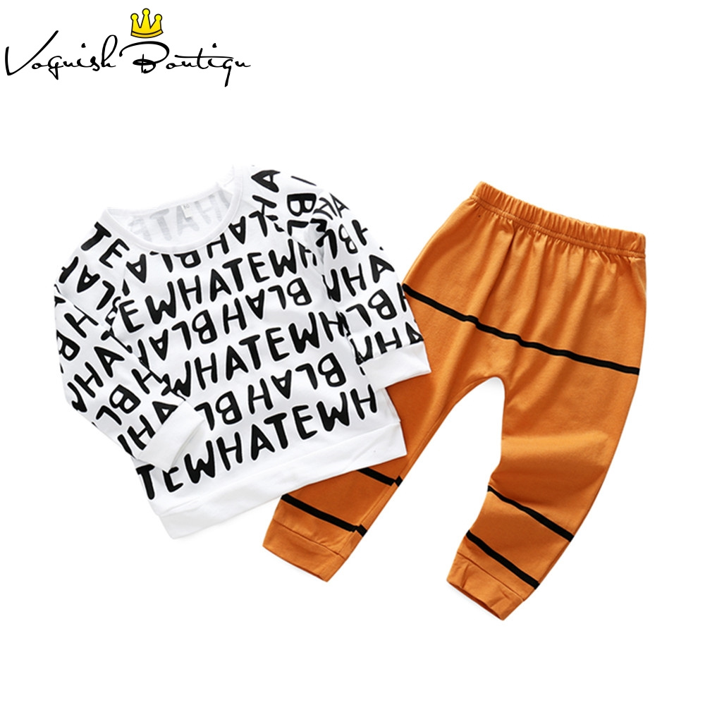 Bebes fashion clothes 2pcs/set letter printed long sleeve t-shirt with striped pants casual baby boys and girls clothes