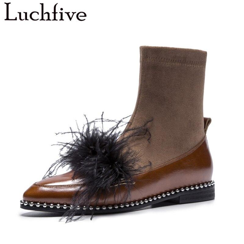 Véritable plume En Cuir Cheville Bottes pour femmes Automne hiver Court Chaussons bas Talon chaîne perlé Rivets stretch tissu chaussette chaussures