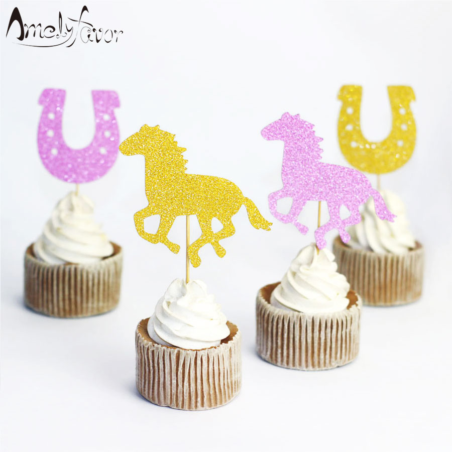 Us 3 78 16 Off Horse And Horseshoe Glitter Cupcake Topper Cowgirl Birthday Party Cupcake Topper Cowgirl Baby Shower First Birthday Decoration In