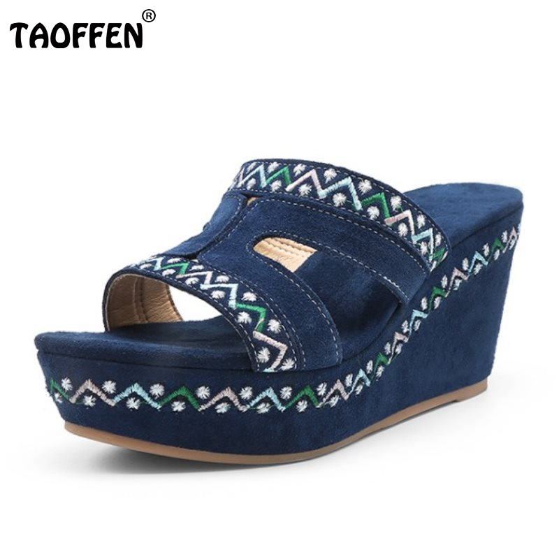 TAOFFEN Bohemia Women Genuine Leather Wedges Sandals Hollwo Out Platform Embroidery Trifle Slippers Summer Shoes Size 34-39 choudory bohemia women genuine leather summer sandals casual platform wedge shoes woman fringed gladiator sandal creepers wedges
