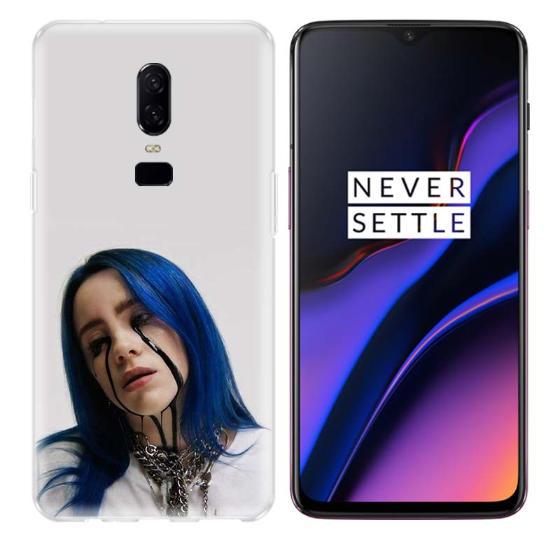 Billie Eilish Cute Girl Phone Back Case for OnePlus 7 Pro 6 6T 5 5T 3 3T 7Pro Art Gift Patterned Customized Cases Cover Coque in Half wrapped Cases from Cellphones Telecommunications