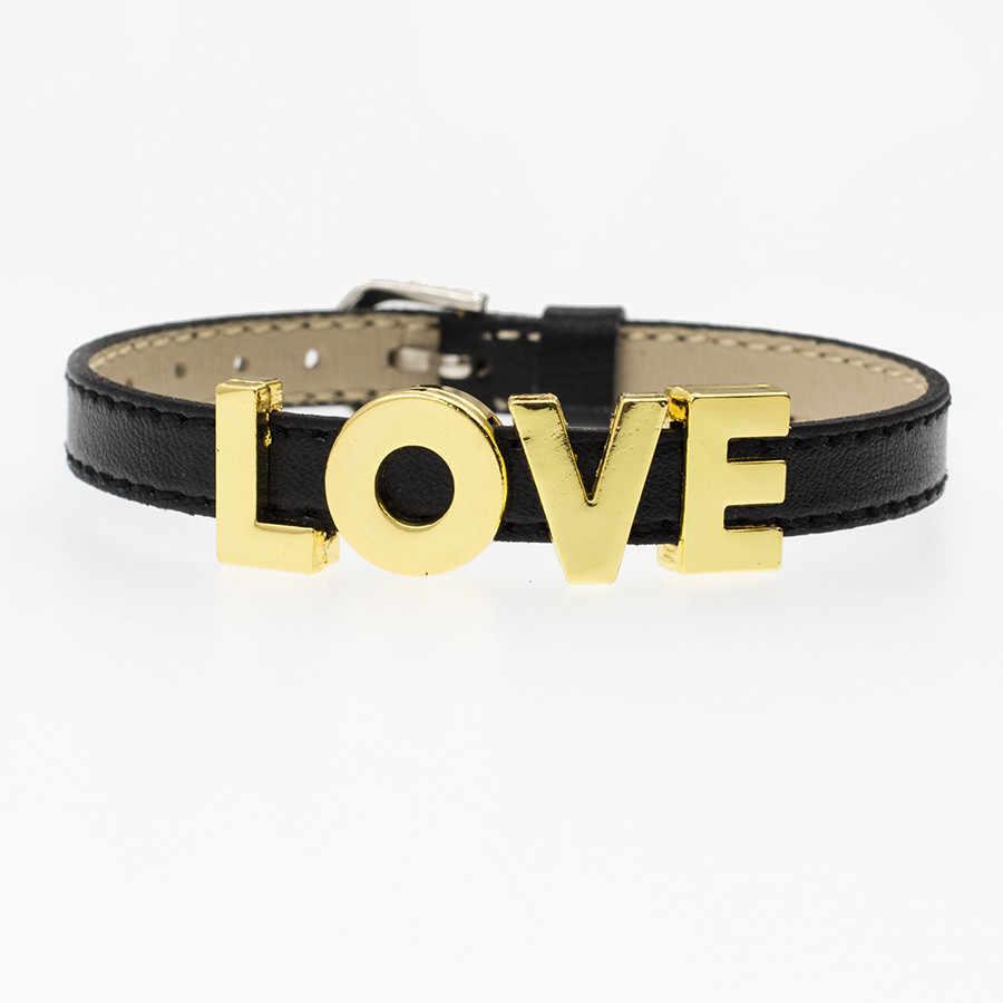 130 pcs 8mm Encantos de Slides Letras DIY alfabeto Inglês AZ cor Dourada Simples Encantos DIY Fit Para Animal de Estimação Colarinho pulseira chaveiro