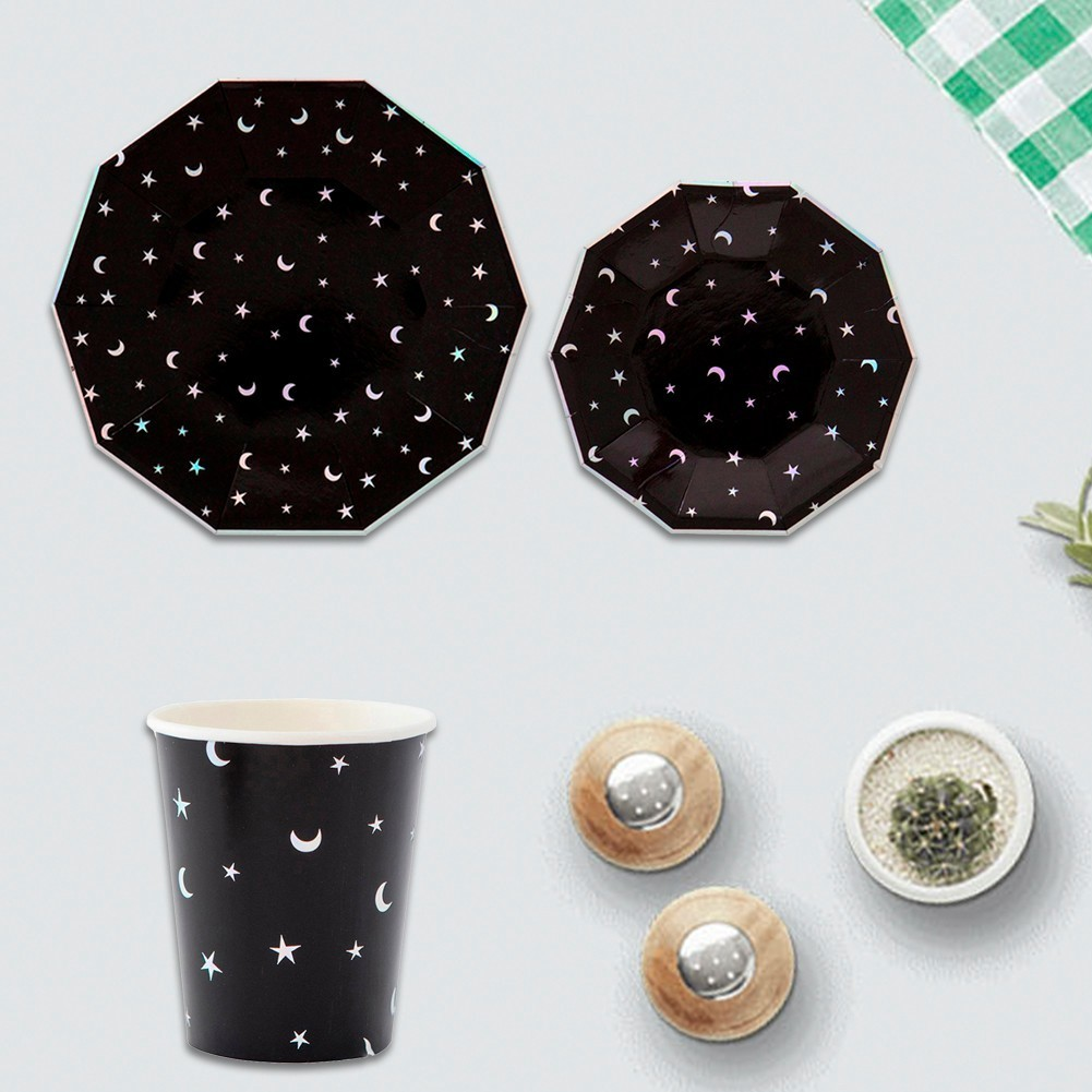 Black Star and Moon Disposable Tableware Party Decorative Dinner Paper  Plates Cups Christmas Birthday Wedding Party Decoration