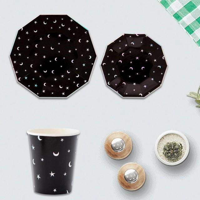 Black Star and Moon Disposable Tableware Party Decorative Dinner Paper Plates Cups Christmas Birthday Wedding Party & Black Star and Moon Disposable Tableware Party Decorative Dinner ...