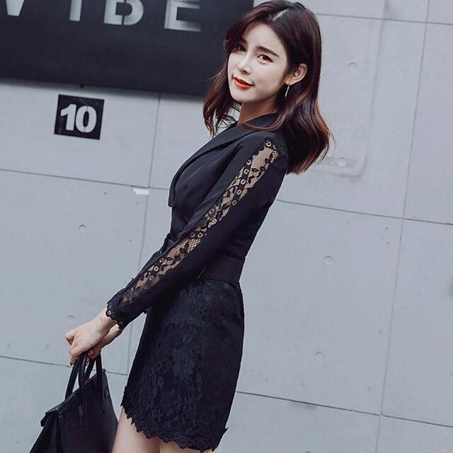 4f0c2eb3b Autumn Black Blazer Dresses Fashion V Neck Slim Long Sleeve Lace Gothic  Aesthetic Office Coat Wear Luxury Elegant Clothes OL A10