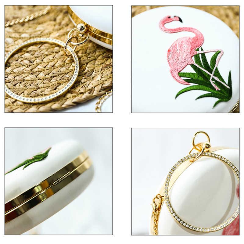 Повседневная с вышивкой птицы круговой бриллиантами Мода для девочек вечернее клатч Minaudiere плечо Сумочка белые свадебные Кошелек