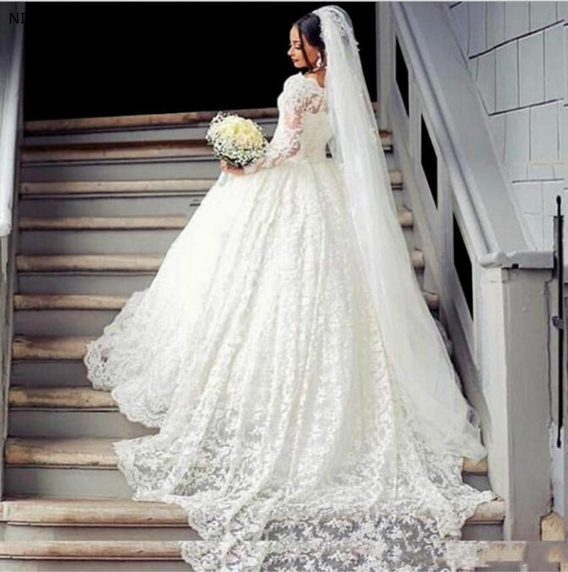 Luxurious Long Sleeve Lace Ball Gown Wedding Dresses Appliques Arabic Vintage Bridal Dress For Middle East Bridal Wedding Gowns