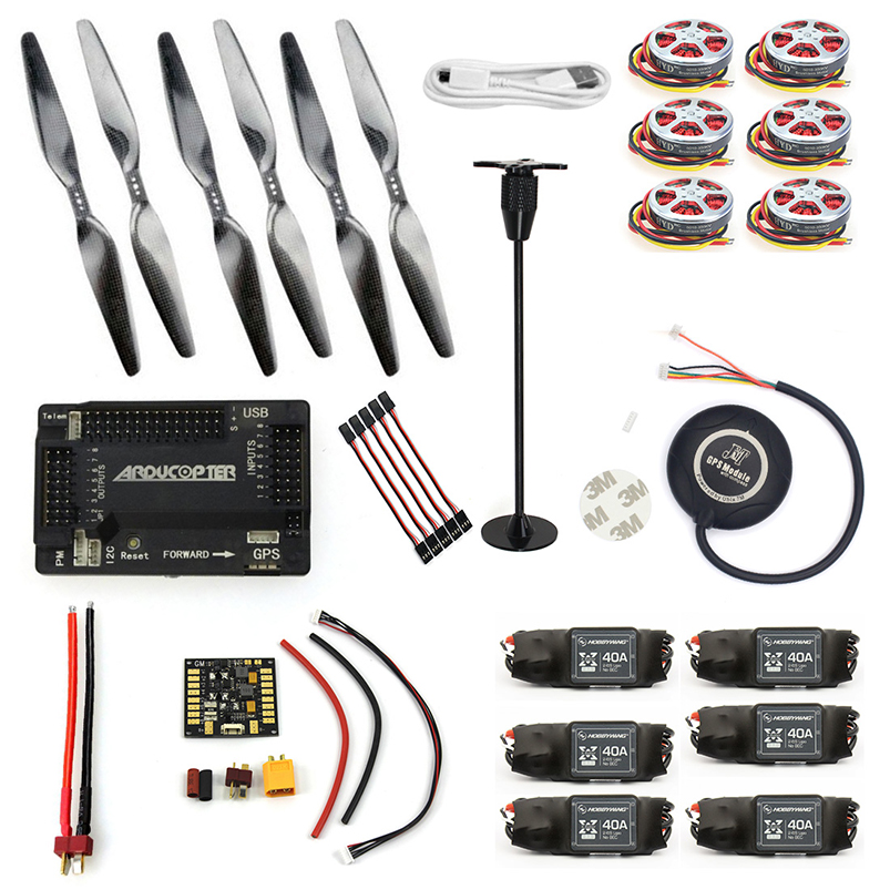 RC HexaCopter Six-axis Aircraft ARF Electronic:GPS APM2.8 Flight Control 350KV Brushless Motor 40A ESC F05423-I f2s flight control with m8n gps t plug xt60 galvanometer for fpv rc fixed wing aircraft
