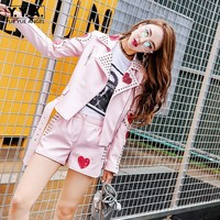 Высококачественная кожаная куртка, комплект для женщин, с заклепками и блестками, с вышивкой, в стиле панк, кожаные шорты + пальто на молнии с