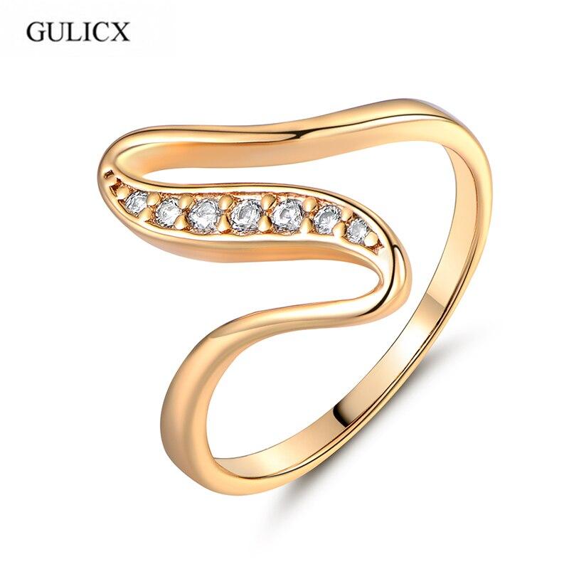 d8633a68a11 GULICX X Forme Serpent Courbe Anneaux Unique Or-couleur Anneau Blanc  Cristal CZ Zircon Bagues de Fiançailles pour les Femmes Bijoux R103