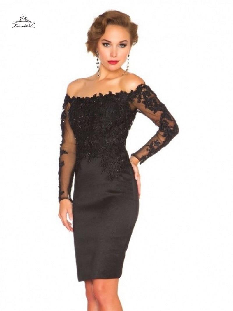 schwarzer spitze langarm kurze abendkleider formales kleid-partei-abend  elegante kleider robe de soiree abendkleider