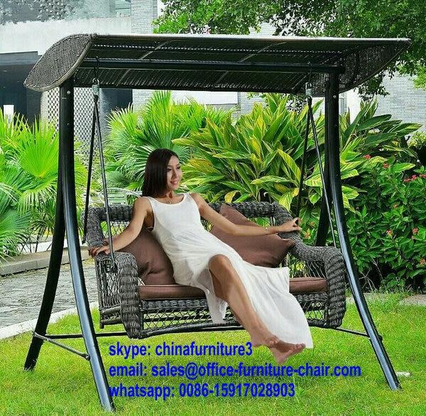 China Metal Patio Swings Bed Outdoor Rocking Chair Pe Rattan Lounge Hanging Basket Garden Furniture