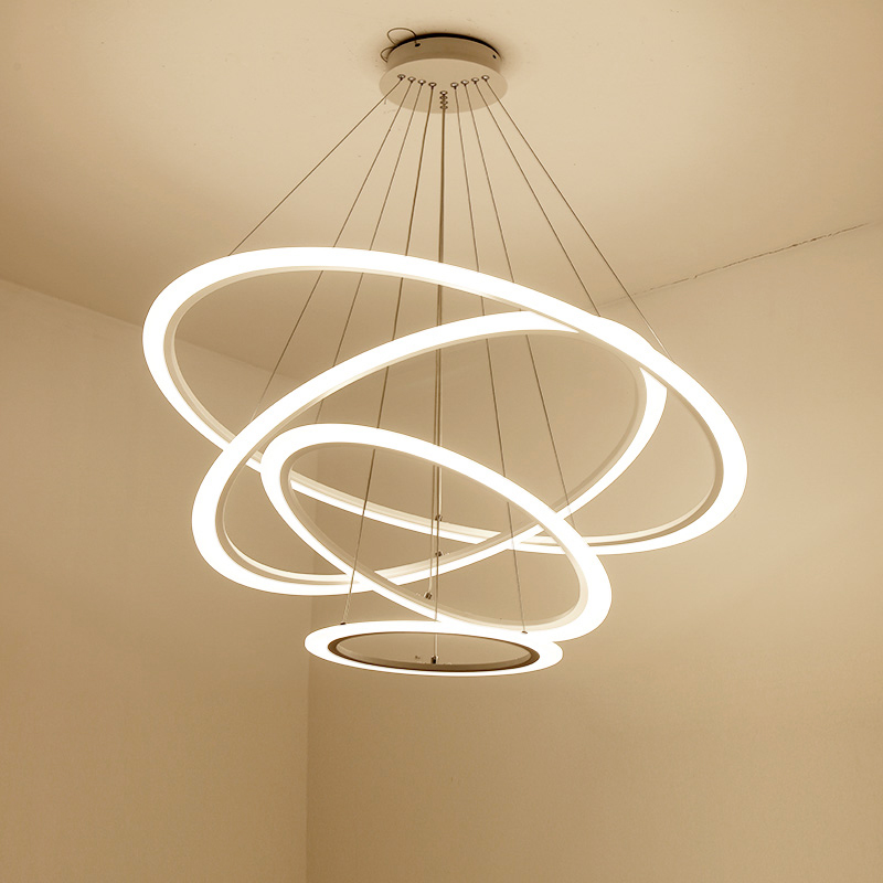 Black/white acrylic modern led pendant lights for living room dining room ring circles pendant lamp suspension hanging fixtures diamond himmeli pendant lights black iron art birdcage pendant lamp suspension for living room bedroom lighting fixtures pl321 page 7