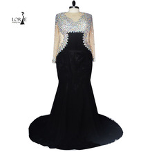 Luxury Crystal Elegant Plus Size Evening Gowns O Neck Real Picture Sexy Transparent Long Sleeve Black