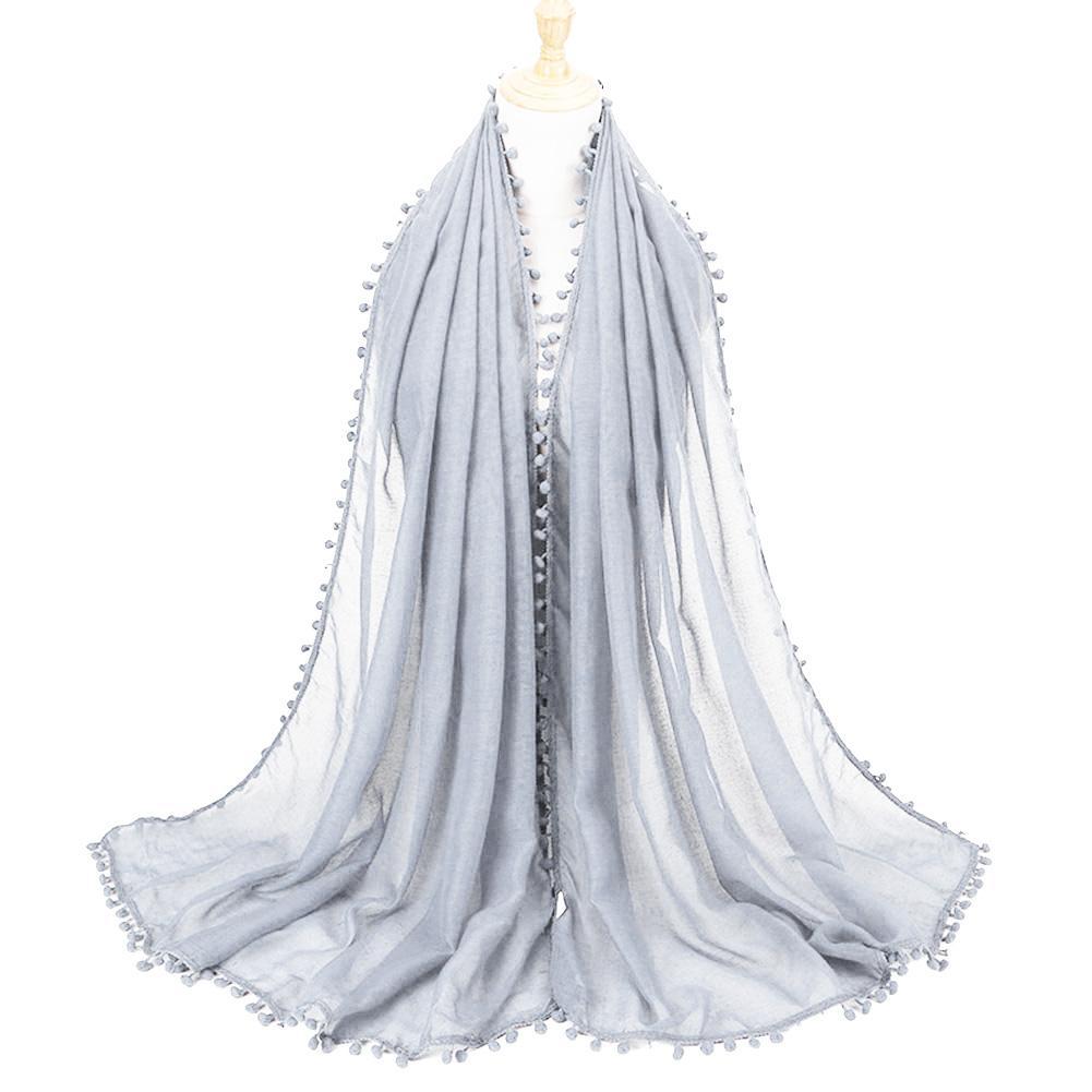 SANWOOD Fashion Muslim Arab Women Solid Color Pompom Veil Hijab   Scarf   Neck   Wrap   Shawl