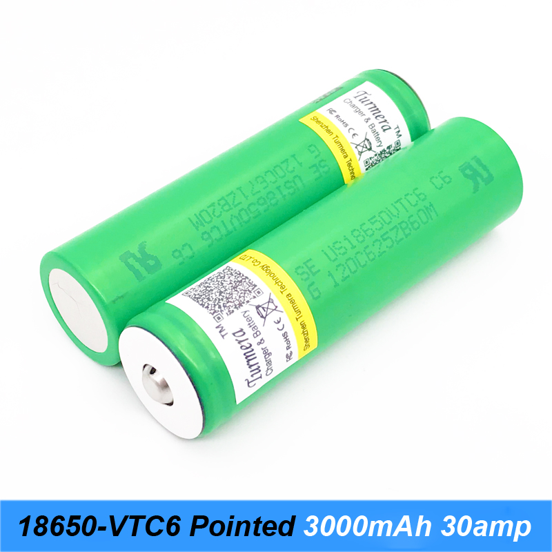 battery 18650 VTC6 3000mAh 30amps with pointed batteries for screwdriver and electric cigarette mod 18650 flashlight battery a7