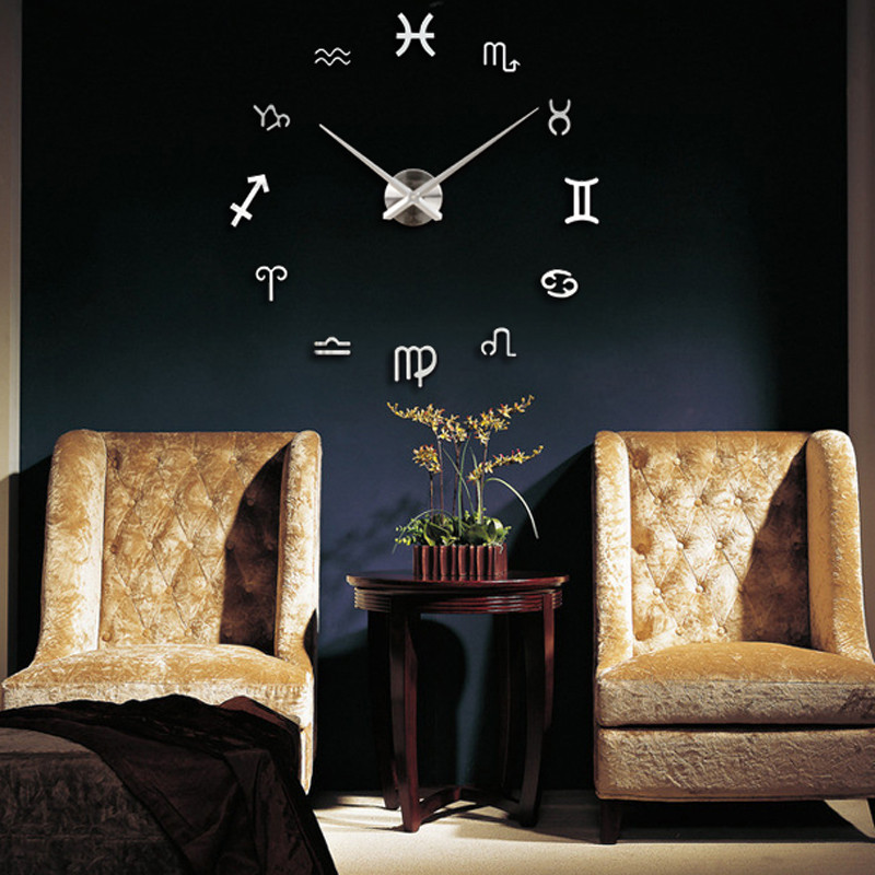 New Qualified Large 3D Modern Mirror Silver Wall Clock Home Living