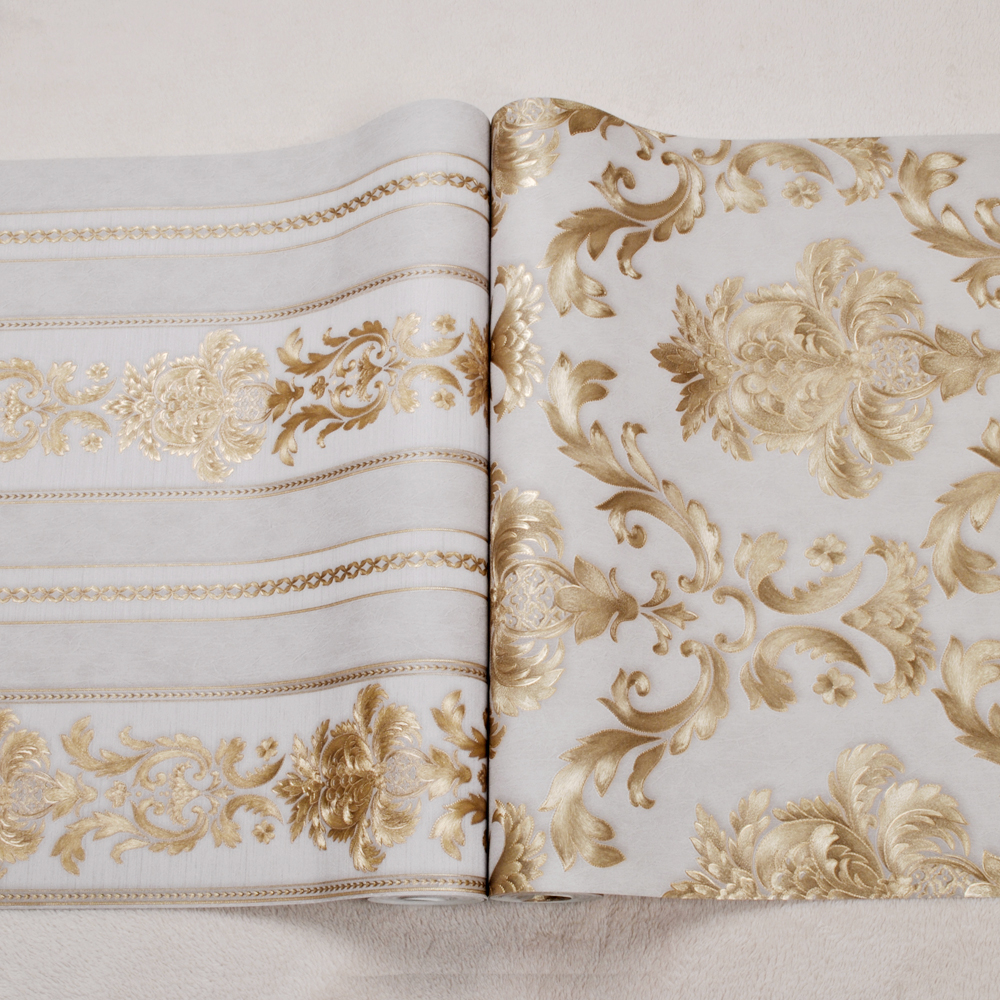 European Style Gilt Large Floral Luxury Damask Wallpaper Carved Embossed Texture Vinyl